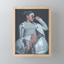Silver High Heel Shoes, Fashion Girl Posing, Urban Hipster Style, Sweet Pastel Colors, Sunglasses, D Framed Mini Art Print