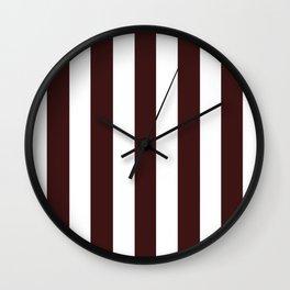 Dark sienna purple - solid color - white vertical lines pattern Wall Clock