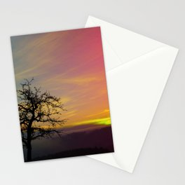 Old tree and colorful sundown panorama | landscape photography Stationery Cards