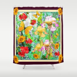 YELLOW IRIS BUTTERFLY SPRING GARDEN BURGUNDY TRIM Shower Curtain
