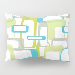 Mid-Century Modern Rectangle Design Blue Green and Gray Pillow Sham