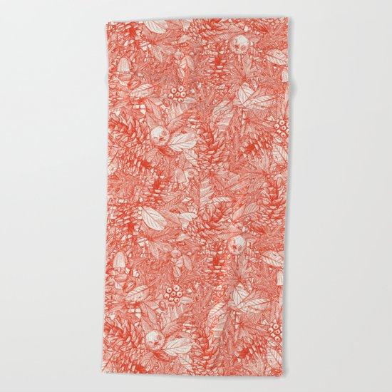 forest floor fire orange ivory Beach Towel