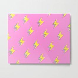 Pink Glitter Lightning Wallpaper  Metal Print
