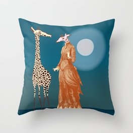 Giraffes - Late night rendezvous Throw Pillow