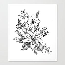 Poinsettia Florals & Winter Berries Canvas Print