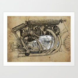 Vincent motorcycle engine motor detail, vintage color, gift for men Art Print