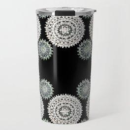 Silver and Black Mandala Circles Travel Mug