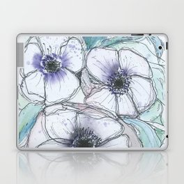 Anemone bouquet illustration watercolor and black ink painting Laptop & iPad Skin