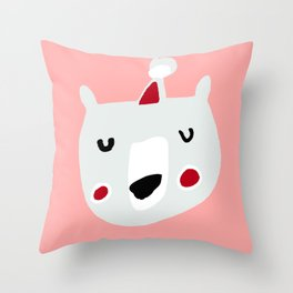 Cute holiday bear pink Throw Pillow