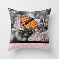 Monarch Butterfly on Pink Flowers and Gothic Tile Throw Pillow