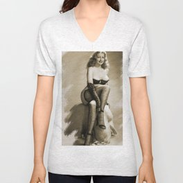 Vintage Pinup Digital Painting Unisex V-Neck