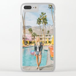 Palm Springs Pool Day II Clear iPhone Case