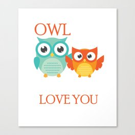 Cute Owl Always Love You Romantic Canvas Print