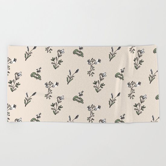 Bright Floral Pattern Beach Towel