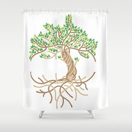 Rope Tree of Life. Rope Dojo 2017 white background Shower Curtain
