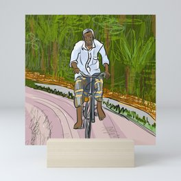 Man on Bicycle in Sri Lanka Mini Art Print
