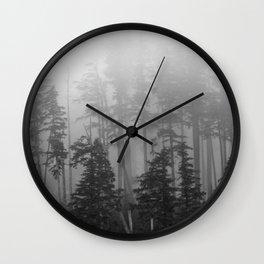Foggy Forest Chinook Washington Grey Photography Print Misty Northwest Wall Clock