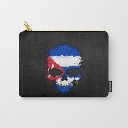 Flag of Cuba on a Chaotic Splatter Skull Carry-All Pouch