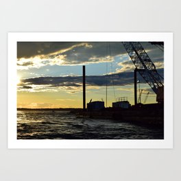 Sunset Over the Barge Art Print