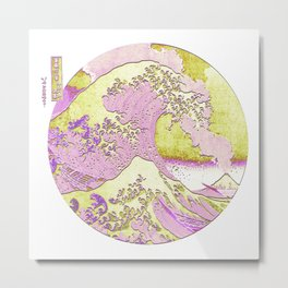Great Wave Off Kanagawa Mount Fuji Eruption Simple Metal Print