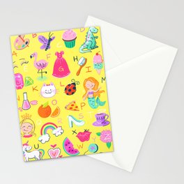 Girly Alphabet Stationery Cards