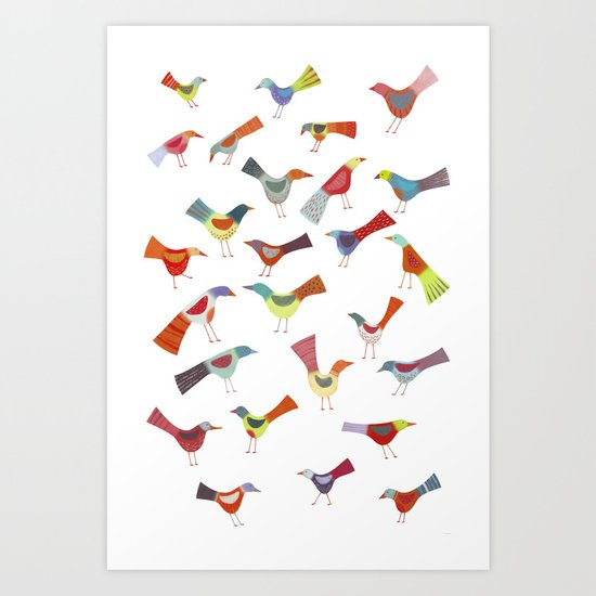 Birds doing bird things Art Print