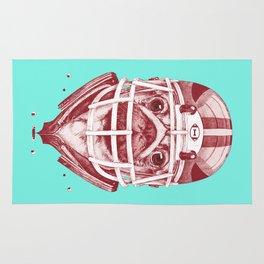 American Pug Football Red Rug