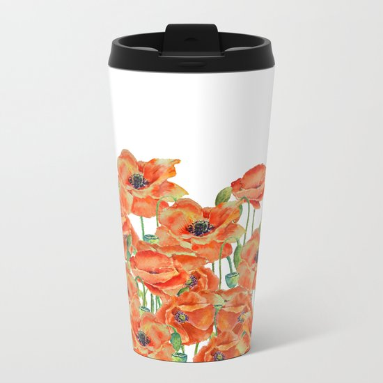 Watercolor poppy field illustration Metal Travel Mug