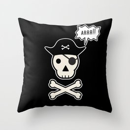 Skul face pirate Throw Pillow