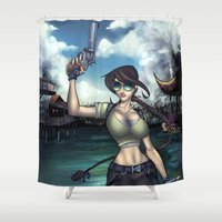 tomb raider Shower Curtains featuring Hello Ms. Croft by Quetzal Revolver