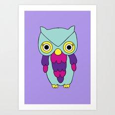 Psychedelic Woodland Turquoise Owl Art Print