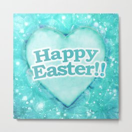 Happy Easter Theme Graphic Metal Print