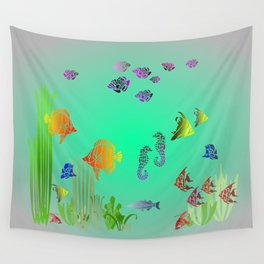 Colored Fish and Seahorse Wall Tapestry