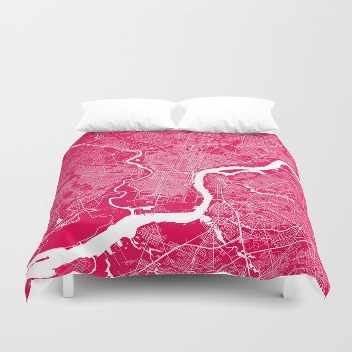 Philadelphia map raspberry Duvet Cover