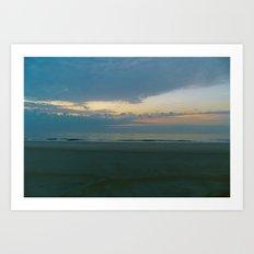 Blue Sunrise on Tybee Island Beach Art Print