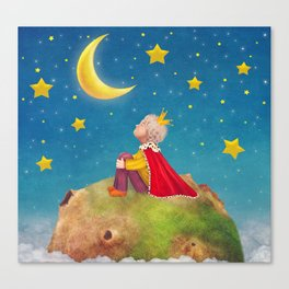 The Little Prince  on a small planet  in  night sky  Canvas Print