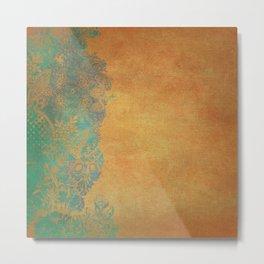 Grunge Garden Canvas Texture:  Golden Orange and Teal Floral Metal Print