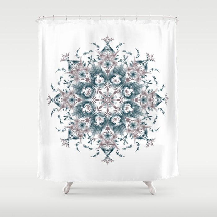 Kat Scratch • Digital Mandela • Dusty Purple & Blue Shower Curtain