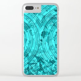 psychedelic geometric circle pattern abstract background in blue and green Clear iPhone Case