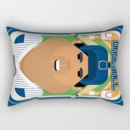 Baseball Blue Pinstripes - Rhubarb Pitchbatter - Seba version Rectangular Pillow