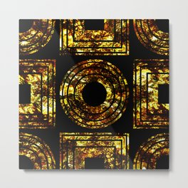 Golden Shapes - Abstract, black and gold, geometric, metallic textured artwork Metal Print