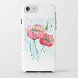 Poppy flowers no 4 Summer illustration watercolor painting iPhone Case
