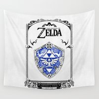 shield Wall Tapestries featuring Zelda legend - Hylian shield by Art & Be