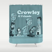 crowley Shower Curtains featuring Crowley & Friends - Supernatural by Justyna Rerak