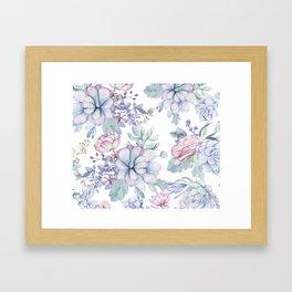 Pretty Blue Pink Succulents Garden Framed Art Print