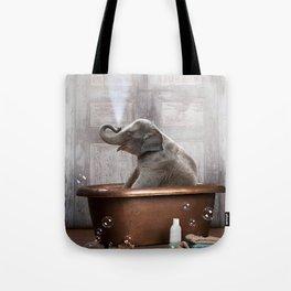Elephant in Vintage Bathtub Tote Bag