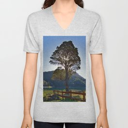 The Big Tree at Patagonian Lake Unisex V-Neck