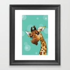 Teal Giraffe! Framed Art Print