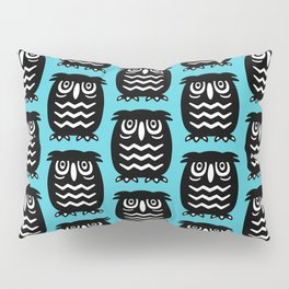 Mid Century Owl Pattern Cerulean 22 Pillow Sham