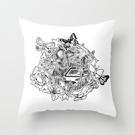 Cars in the Wild (3D papercut) Throw Pillow